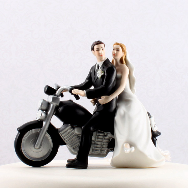 motorcycle couple wedding cake topper wedding cake topper motorcycle get away wedding 17606