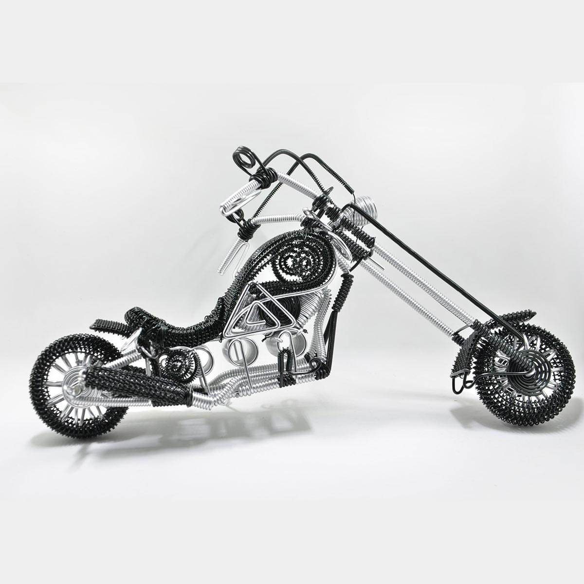 Harley-Davidson Motorcycle Model Sculpture Aluminium Wire Art - Black