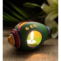 Earthen handmade terracotta and Handpainted T-light holders Seashell shape