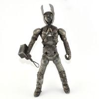 Thor with Hammer Metal Sculpture - Marvel Warrior Model Handmade