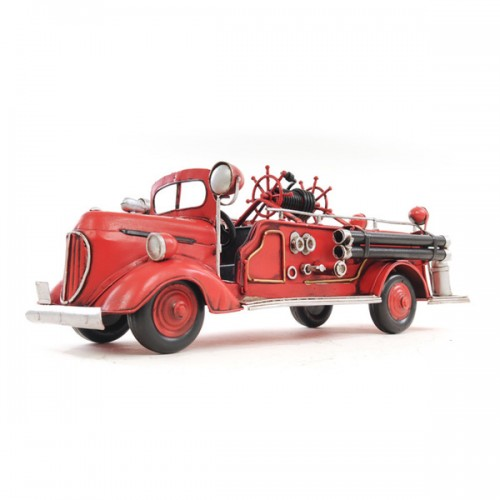 Handcrafted Iron framed 1938 Red Fire Engine Ford 1:40 scaled model