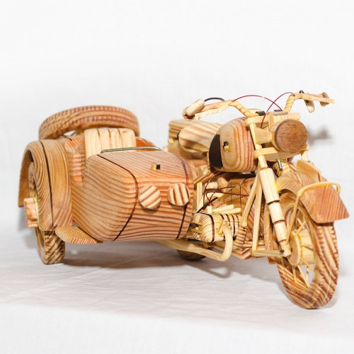 3 Wheels Old Style Motorcycle Wooden Handmade Art Gift for Anniversary Birthday Christmas Wedding