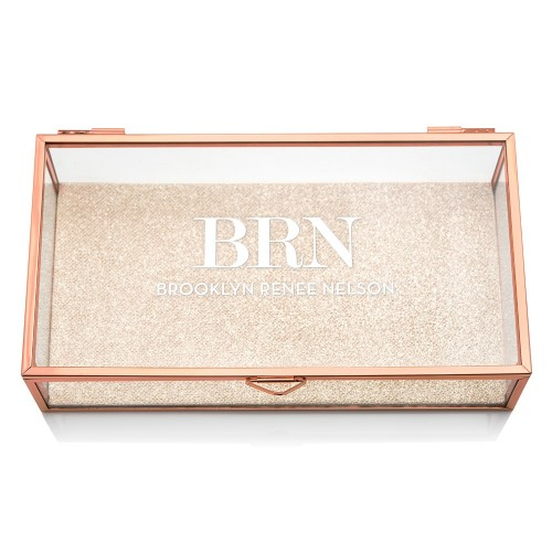 Personalized Glass Jewelry Box With Rose Gold - Modern Serif Initials Printing