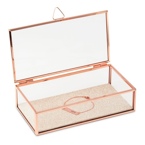 Personalized Glass Jewelry Box With Rose Gold Edges Initials Printing