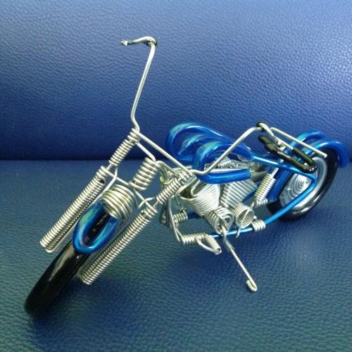 Wire Art Motorcycle Blue - Handmade Aluminium Wire Art Sculpture 6