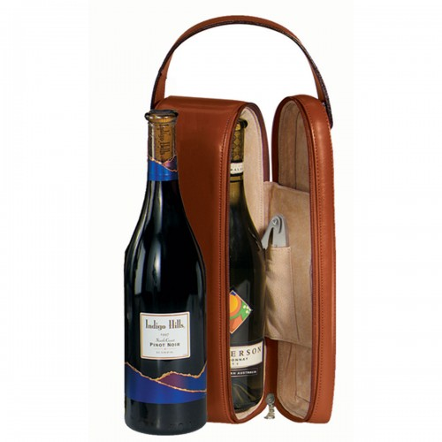 Royce Leather Single Wine Carrying Case - Genuine Leather