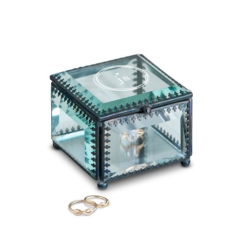 Vintage Inspired Glass Jewellery Box - Modern Monogram Etching