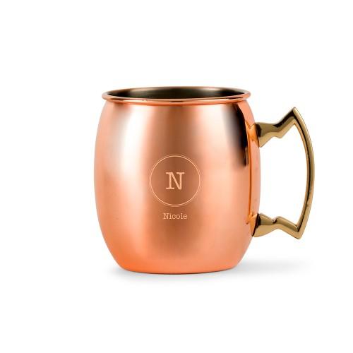 Circle Monogram Moscow Personalized Copper Mule Mug