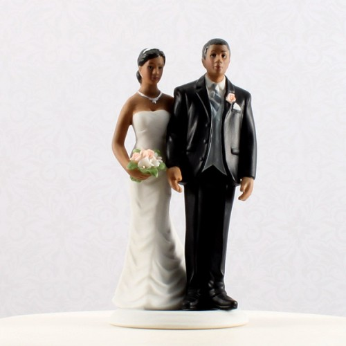 Wedding Hand painted porcelain Cake Topper