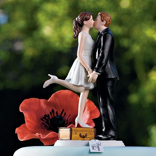 """A Kiss And We're Off!"" Hand painted porcelain cake topper"