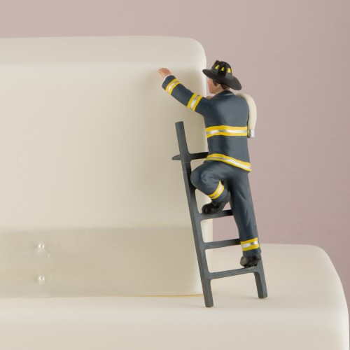 Fireman Groom Figurine - Wedding Cake Topper - To The Rescue!