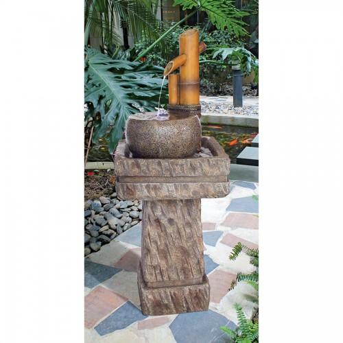 Bamboo Wellspring Pedestal Fountain