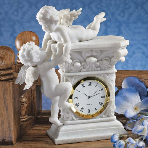 Baroque Twin Cherubs Clock  is a great unique gift for Marble Statues lovers
