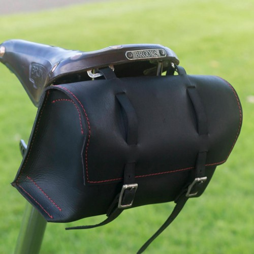 Bicycle Saddle Bag / Handlebar / Frame Bag in Black Red stitching