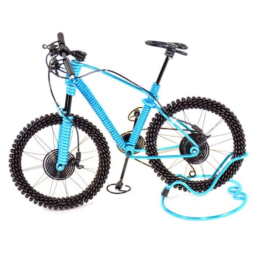 Bicycle Aluminium Wire Art Sculpture - Blue