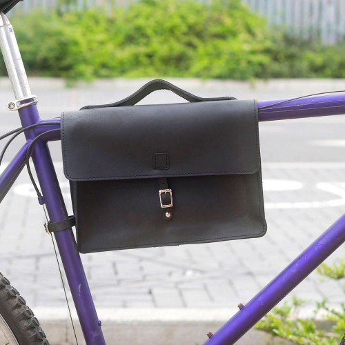 Bicycle Frame Genuine Leather Bag | Satchel Bag - Black