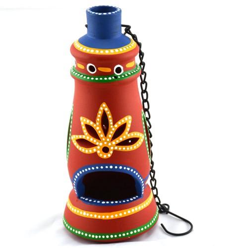 Earthen handmade terracotta and Handpainted T-light holders Bottle shape