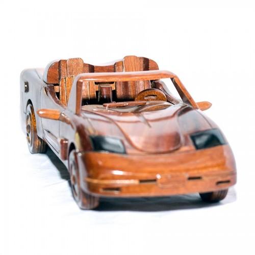 Corvette - Handcrafted Mahogany Wooden Model Car - Wood Art ( COR_01)