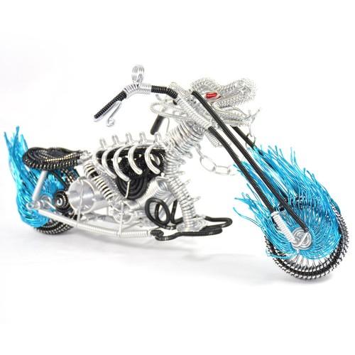 Dragon Motorcycle Model - Wire Art Model in Blue