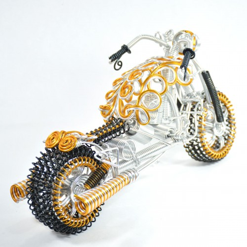Harley-Davidson Fatboy, Aluminium Wire Art Sculpture Motorcycle handmade