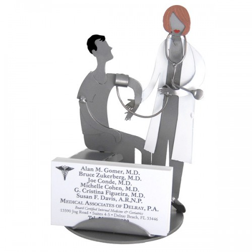 Female Doctor Sculpture Business Card Holder