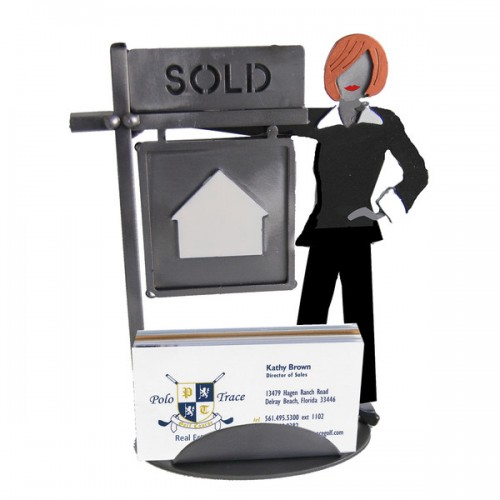 Real Estate Female Business Card Holder