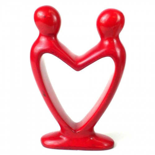 Handcrafted Soapstone Lover's Heart Sculpture in Red
