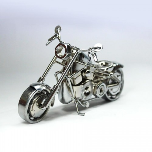 Harley Fatboy : Motorcycle Model 30cm Metal Sculpture Silver