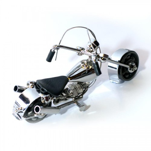 Harley Davidson : Motorcycle Model Metal Sculpture - 18cm, Silver Small