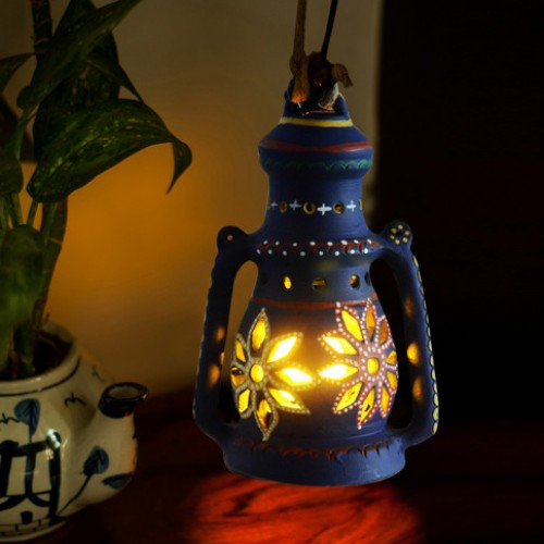 Earthen handmade terracotta and Handpainted T-light holders Hanging Lantern shape
