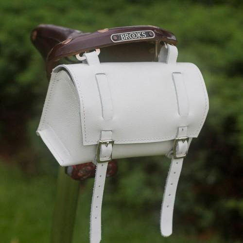 Bicycle Bag Saddle / Handlebar - Genuine Leather Classic XL Bag - White