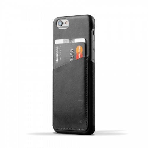 Leather Wallet Case for iPhone 6(s) - Black Color