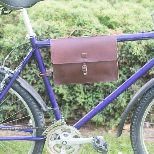 Bicycle Frame Bag - Genuine Leather Satchel Bag - Cherry