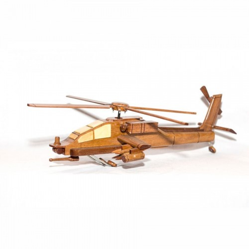 Boeing Ah-64 Apache mahogany wooden scale model