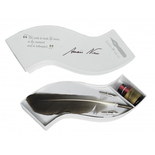 Wave Writing Set Feather - Calligraphy Wave Writing Feather Pen & Ink Set White Box