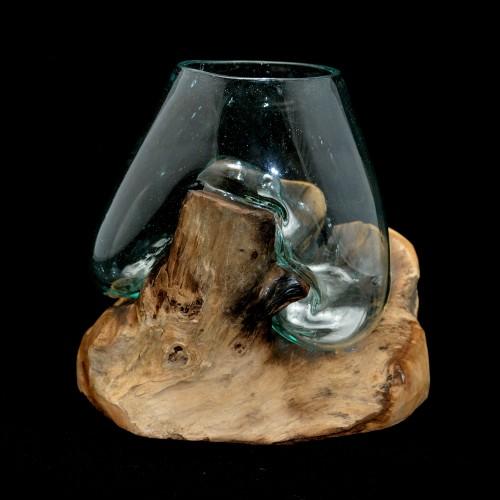 Molten Glass on Teak wood - Hand Blown Glass Sculpture - Small