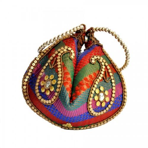 Multicolor Brocade Nightout Potli Bag for parties