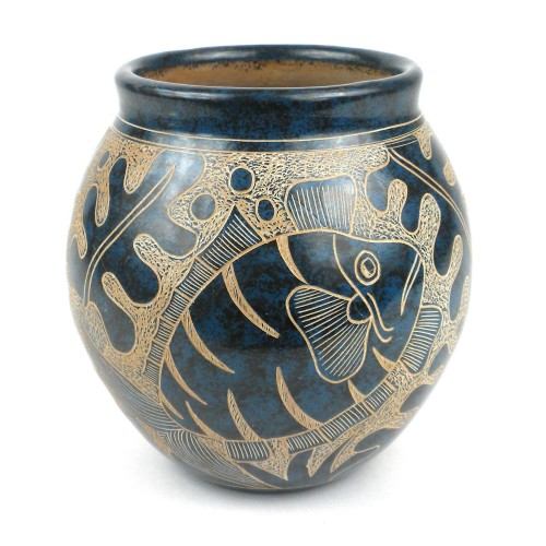 Handmade 5-inch Tall Vase Blue Fish Design