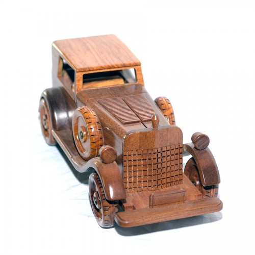 Wooden Mahogany Old Car with Black Box scale model - Handcrafted