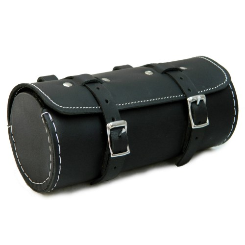 Genuine Leather Bicycle Round Saddle Bag Utility Tool Bag - Black