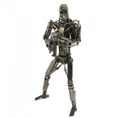Terminator with Gun T-800 robot metal sculpture