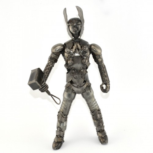Thor with Hammer Metal Sculpture - Marvel Warrior Model Handmade