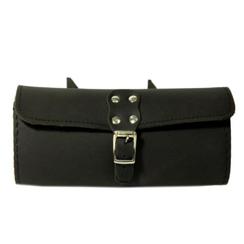 Genuine Leather Bike Saddle Bag Utility Tool Bag - Black