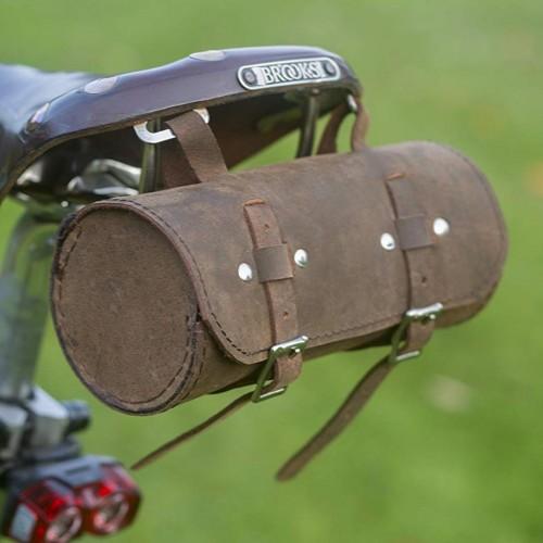 Genuine Leather Schwinn Bicycle Round Saddle Bag Utility Tool Bag - Vinatge Brown