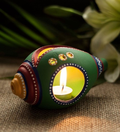 Earthen handmade terracotta and Handpainted T-light holders Seashell shape