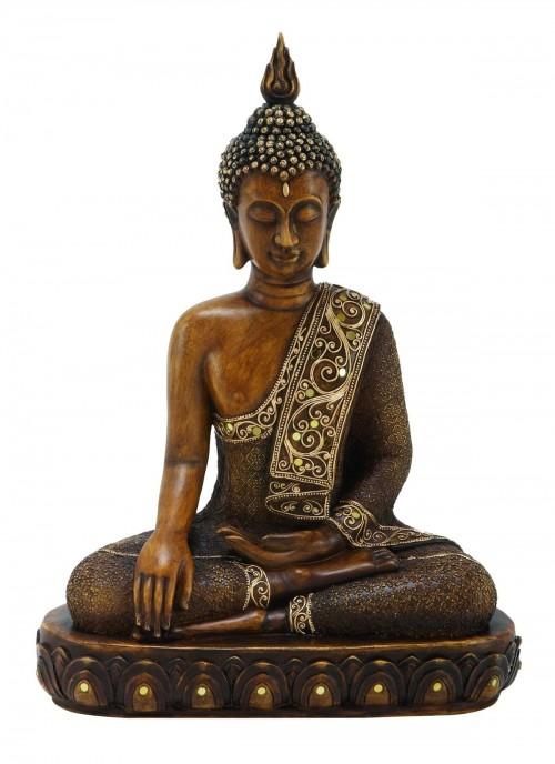 peaceful vibe Polystone Buddha Figurine With Pointed Ushnisha, Brown Buddha Sculpture