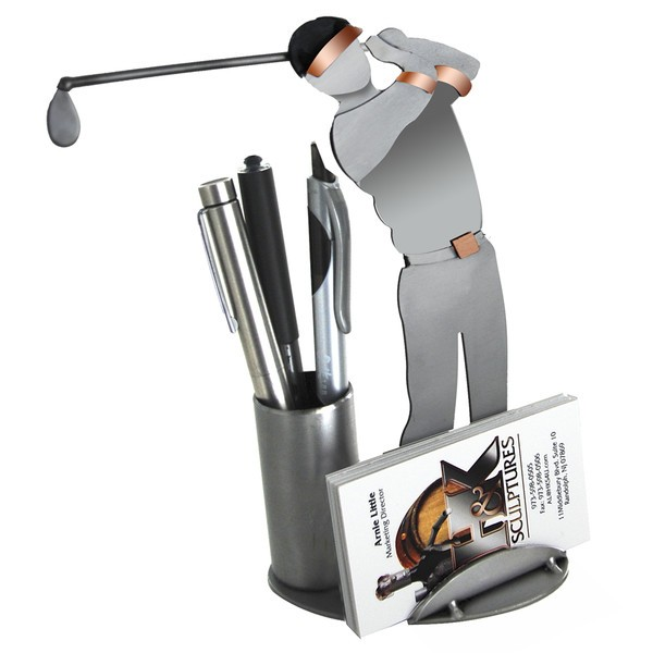 Golf driving business card holder sculpture golf business card holder our golfer business card holder makes excellent desktop art for your golfing buddy colourmoves