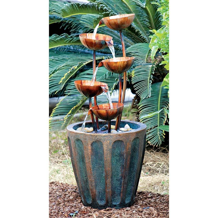 Copper Bowls Cascading Garden Fountain