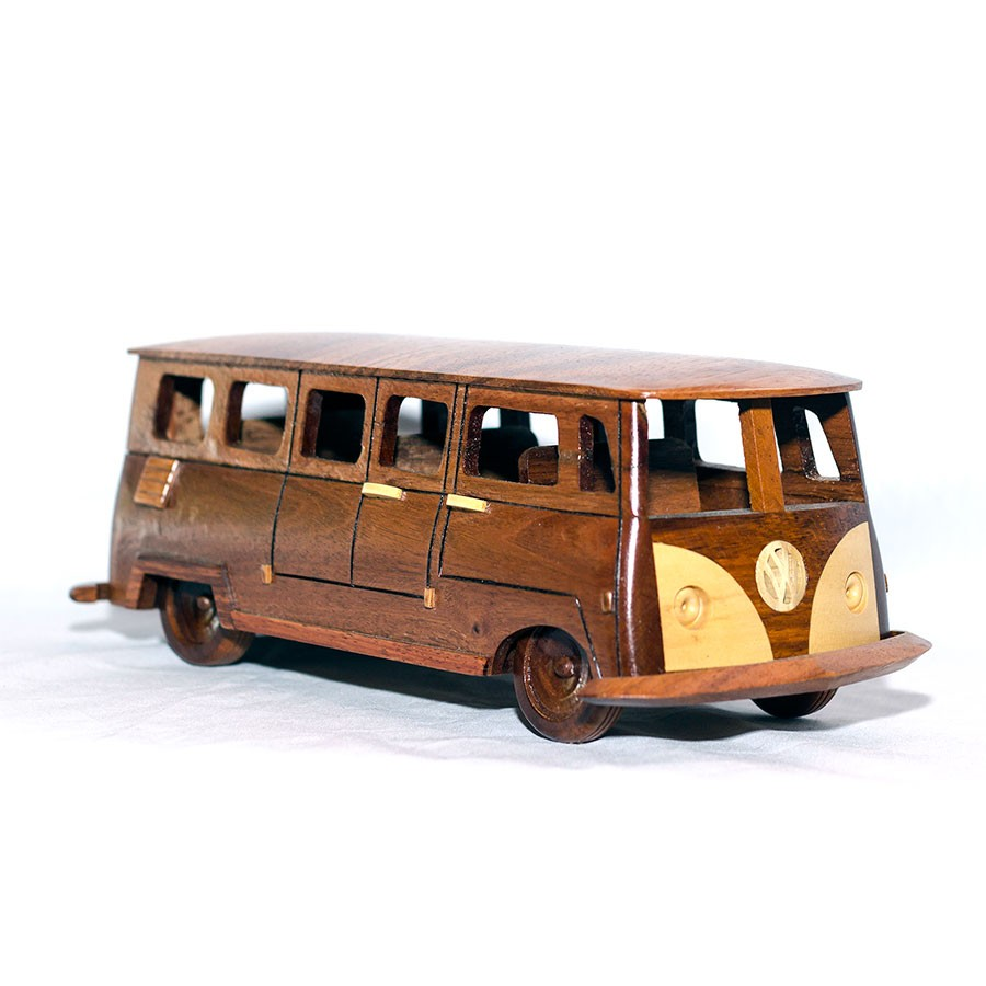 Mahogany Wood Volkswagen Bus Scale Model Handcrafted