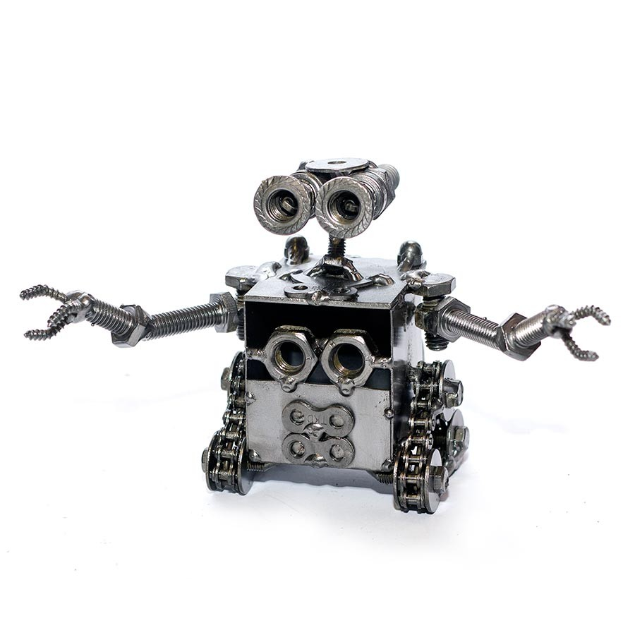 Wall E Robot Metal Sculpture Recycled Scrap Handmade Electronics Recycling Pictures 13cm Model